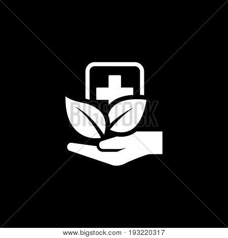Alternative Medicine Icon with Leaves. Flat Design. Isolated