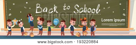 Back To School Group Of Small Pupils Girls And Boys Standing Over Class Board Schoolgirl And Schoolboy Education Banner Flat Vector Illustration