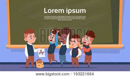 Mix Race Pupils In Class Room After Test Show Mark, School Boys Over Chalk Board Flat Vector Illustration