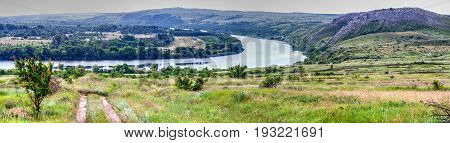 Mountains under the name Two sisters background of the Donets River in summer panorama large format floodplain of the river bend Donskaya steppe mountain education background picture.