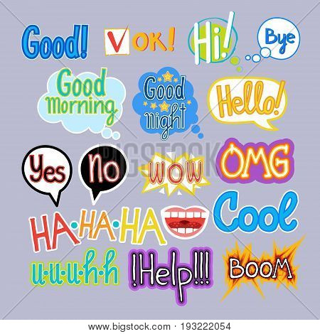 Sticker Set Chat Message Label Icon Collection Colorful Banner Vector Illustration