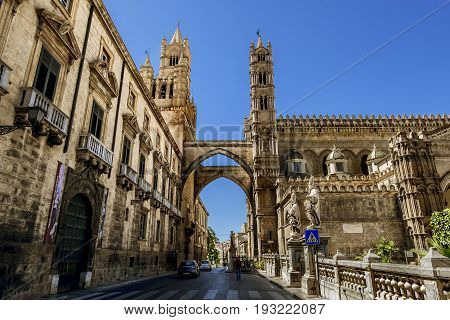 Palermo.Italy.May 26 2017.View of the historic centre and Cathedral in Palermo. Sicily