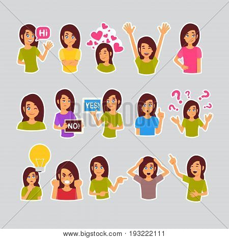 Girl Set Of Stickers For Messenger, Label Icon Colorful Logo Collection Different Emotion Vector Illustration