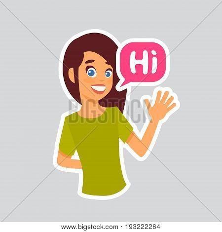 Girl Hi Sticker For Messenger, Label Icon Colorful Logo Vector Illustration