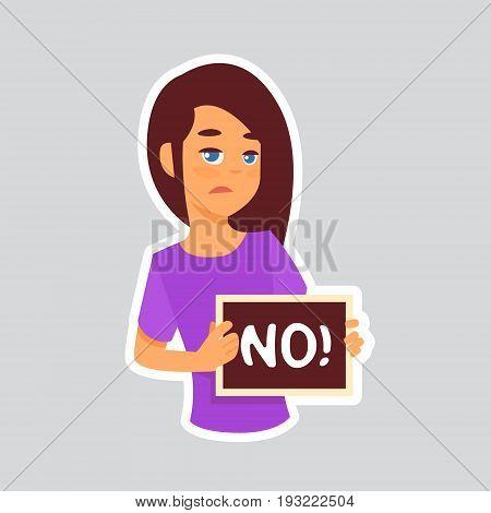 Girl Sad Says No Sticker For Messenger, Label Icon Colorful Logo Vector Illustration