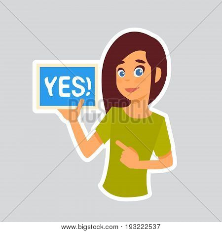 Girl Says Yes Sticker For Messenger, Label Icon Colorful Logo Vector Illustration