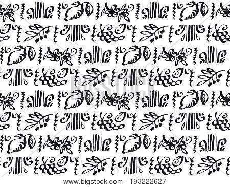 concept hand drawn italian food (tomato, olive, floral, grape, lemon) seamless pattern vector sketch