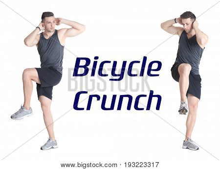 Young man doing bicycle crunch on white background
