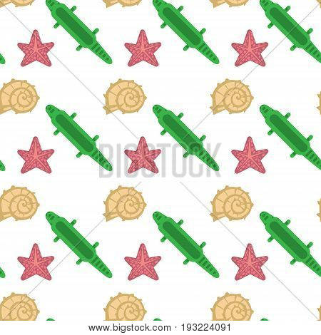 Sea Shell, Star Fish Seamless Pattern Vacation Concept Abstract Background Colorful Design Vector Illustration