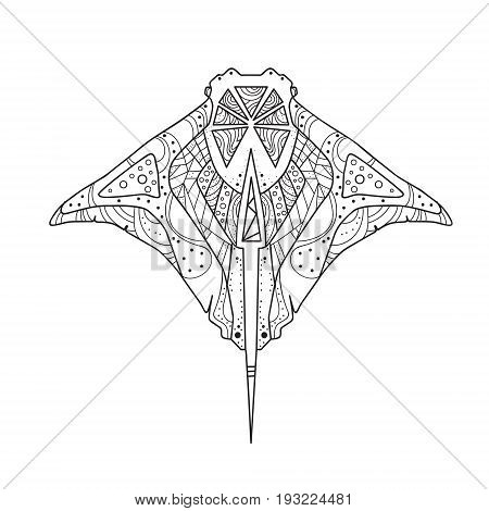 Skate Hand Drawing Zentangle Fish Isolated Vector Illustration
