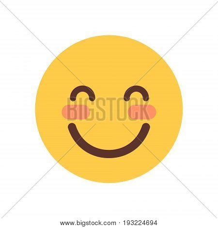 Yellow Smiling Cartoon Face Shy Closed Eyes Emoji People Emotion Icon Flat Vector Illustration