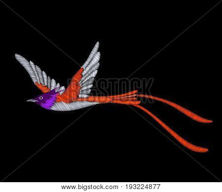 Embroidery tropical exotic bird isolated on black background.