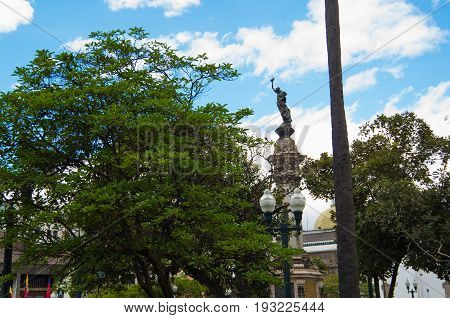 QUITO, ECUADOR - MAY 06 2016: Statue of Heroes at Plaza Grande in Quito, Ecuador.