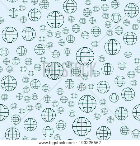 Globe earth geography element seamless pattern planet map symbol vector illustration. Education toy graphic sphere. Geography element graphic sphere pictogram application.