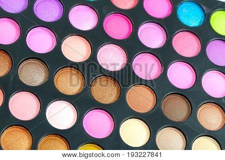 Decorative colorful eyeshadow set , close up shot