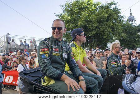 LE MANS FRANCE - JUNE 16 2017: Nicki Thiim Richie Stanaway Marco Sorensen Aston Martin racing team. Parade of pilots racing 24 hours in Le mans France