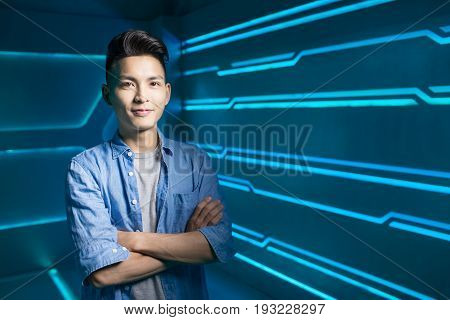 man smile happily on the technology background