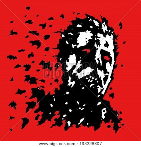 The head of the zombie crumbles into the ashes. Vector illustration. The horror genre.