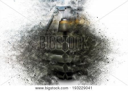 Grenade At The Time Of Explosion On A White Isolated Background 3D Illustration