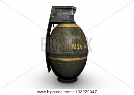 3D Illustration Of Grenades On White Isolated Background
