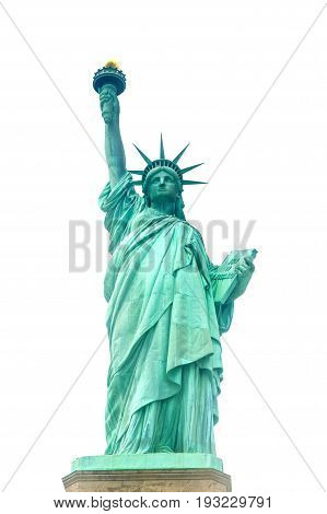 Statue of Liberty on Liberty Island in New York Harbor in New York City in the United States - isolated on white.