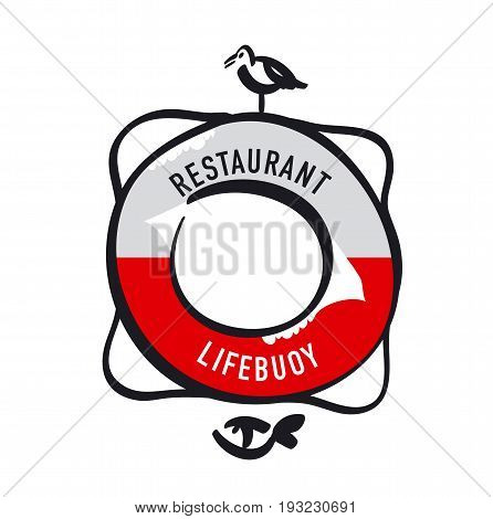 Simple retro-style Lifebuoy with bird and fish for icon, logo, sign. silhouette vector illustration
