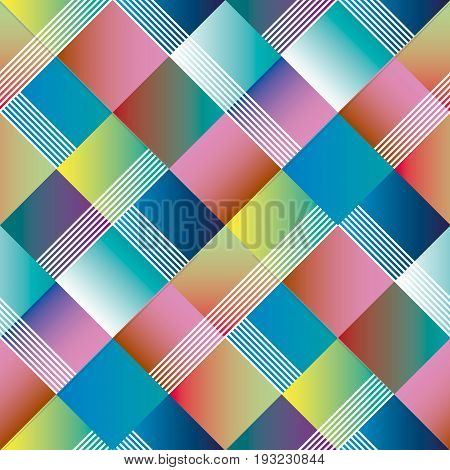 Argyle geometry seamless pattern for surface design. Vector illustration with modern gradient shapes in tile composition.