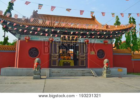 Enter to Chinese Buddhist temple in Lumbini, Nepal - birthplace of Buddha Siddhartha Gautama.