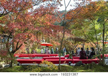 KYOTO JAPAN - 20 NOVEMBER 2015: Seating for watching the leaves change color in the Eikando Zenrin-ji temple. The temple is very famous for its autumn colors in Japan