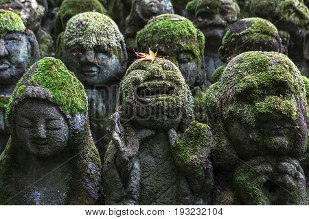 Stone statues of Buddha The sculptures were donated in 1981 in honor of the refurbishment of the temple at Otagi nenbutsu-ji temple in Arashiyama Kyoto Japan