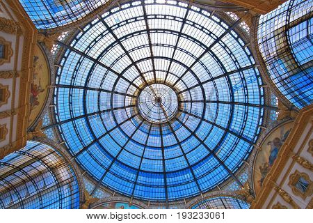 Milan, Italy - June, 19, 2017: cupola of Galleria Vittorio Emanuele in Milan, Italy