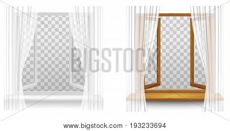White Plastic and Wooden window frames with curtains on a transparent background. Vector