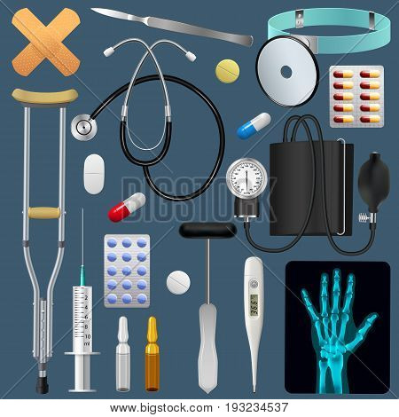 Medical equipment tools and drugs set. Medicine traumatology surgery and first aid. Realistic detailed objects. Vector illustration.