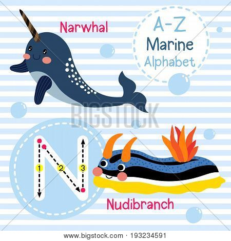 Cute children sea alphabet flashcard of funny marine animal cartoon N letter tracing for kids learning English vocabulary vector illustration.