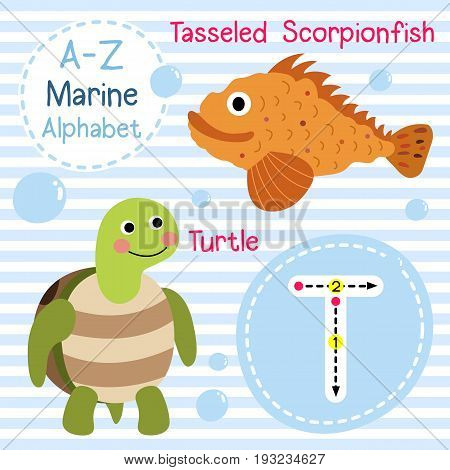 Cute children sea alphabet flashcard of funny marine animal cartoon T letter tracing for kids learning English vocabulary vector illustration.