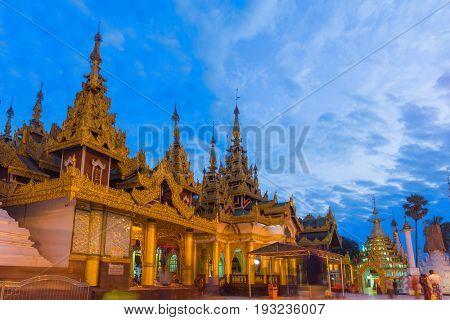 Dawn at the famous Shwedagon Pagoda in Rangoon, Myanmar