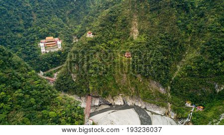 Aerial shot of Eternal spring shrine at the Taroko national park, Taiwan