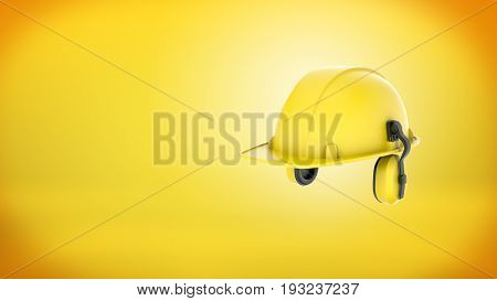 3d rendering of a new yellow construction hard hat with ear muffs attached on yellow background. Protective gear. Safety on site. Manual work.
