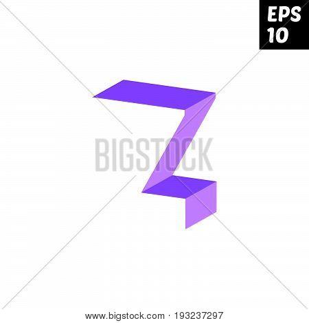 Initial letter Z lowercase logo design template block violet purple