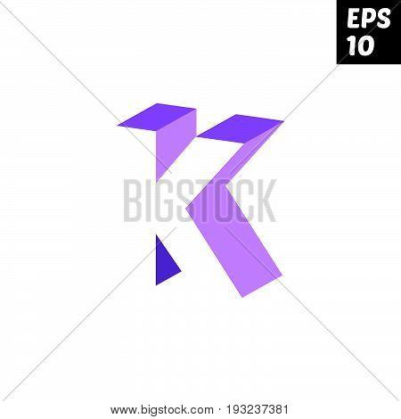 Initial letter K lowercase logo design template block violet purple
