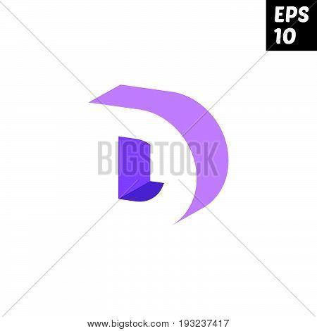 Initial letter D lowercase logo design template block violet purple