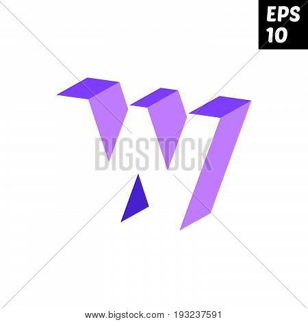 Initial letter W lowercase logo design template block violet purple