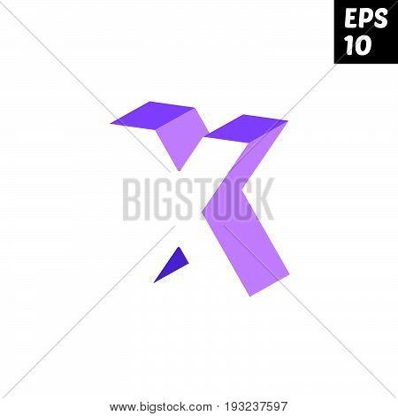 Initial letter X lowercase logo design template block violet purple