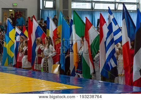 BERLIN - MARCH 18 2017: Spectators and participants of the competition before the start of the fighting. European championship Kyokushin World Union (KWU) for Children and Youth.
