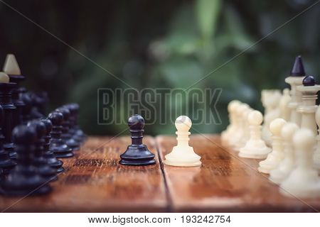 Started A Game Of Chess Outdoors In The Open Air