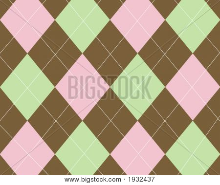Brown light pink and light green argyle background poster