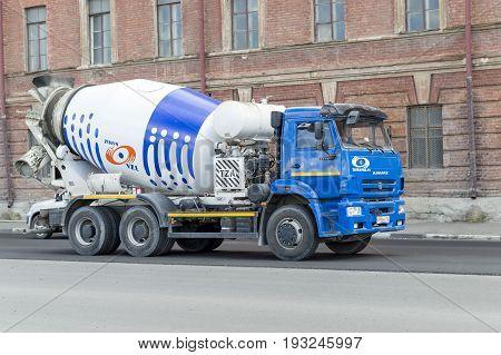 NIZHNY NOVGOROD, RUSSIA June 28, 2017 : Auto appliances communal services of the city. Car kamaz for transportation of liquid cement, 'pear'.NIZHNY NOVGOROD