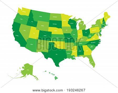 Map of United States of America, USA, in four shades of green with white state labels. Simple flat vector illustration isolated on white background.