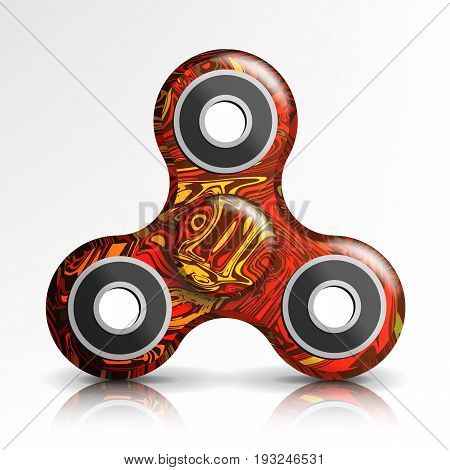 Spinner Toy Vector. Bright Plastic Fidgeting Hand Toy For Improvement Of Attention Span. Spinning Machine. Rotation. Fidget Finger Spinner Stress, Anxiety Relief Toy. Realistic