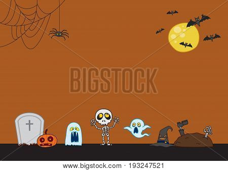 Halloween Background -spooky eyes, flying bats, skeleton, ghost, cobweb, graves, and a huge moon -plenty of copy space